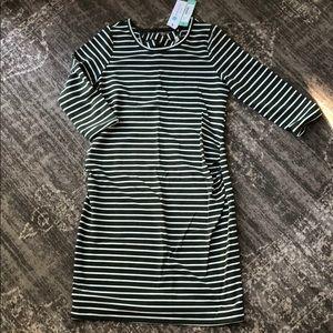 Knit 3/4 Sleeve Stripe Midi Maternity Dress